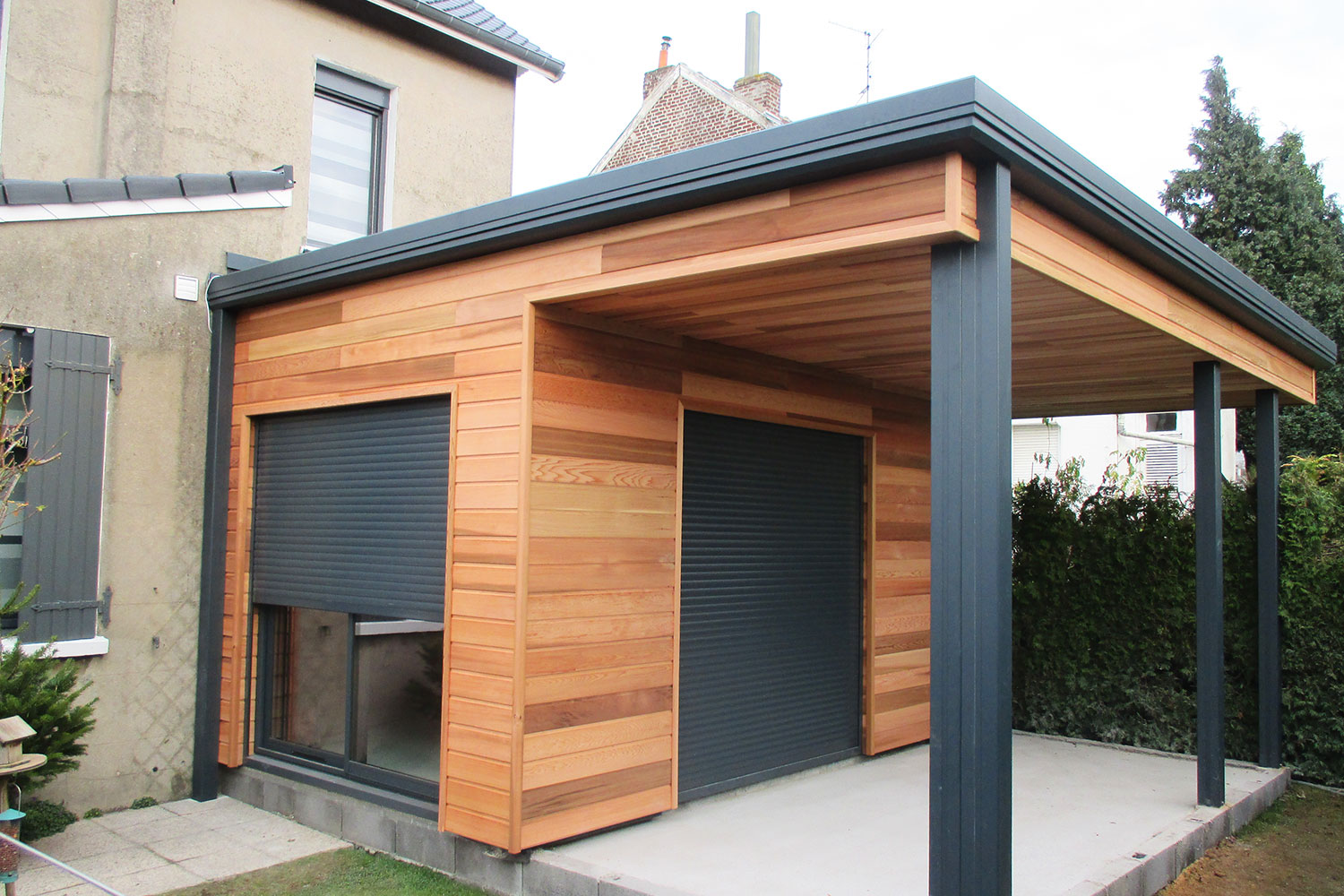 Extension garage bois id e int ressante pour la for Extension de garage en bois