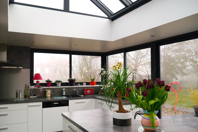 V randas et pergolas de style contemporain md concept for Extension cuisine veranda